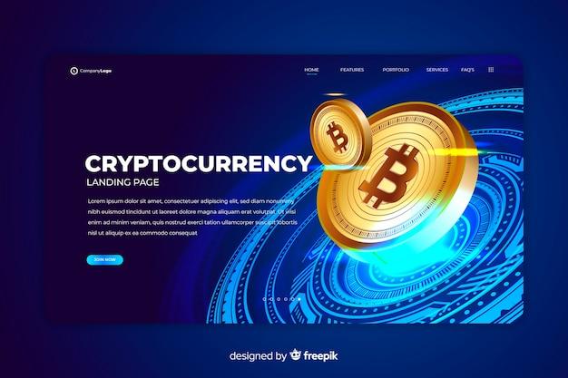 Plantilla de landing page de intercambio de criptomonedas Vector Premium