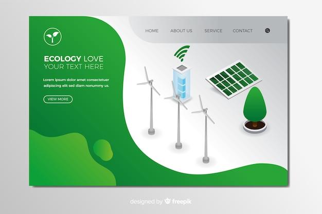 Plantilla de landing page isométrica de ecology vector gratuito