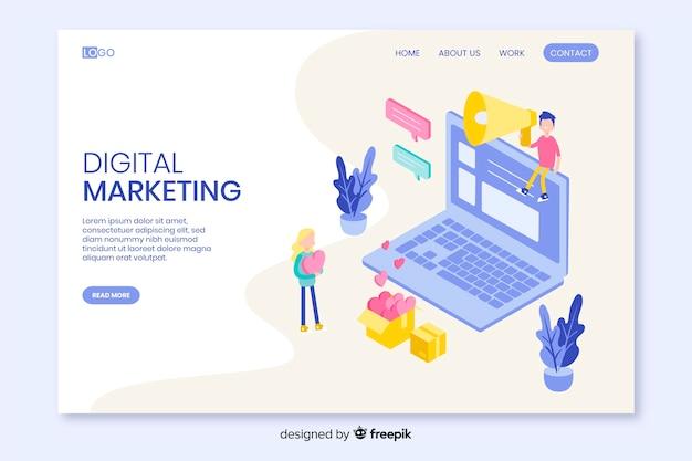 Plantilla de landing page isométrica de marketing vector gratuito