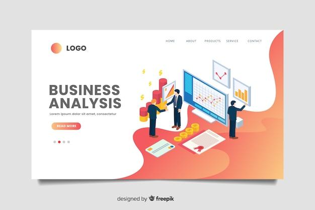 Plantilla de landing page isométrica de negocios vector gratuito