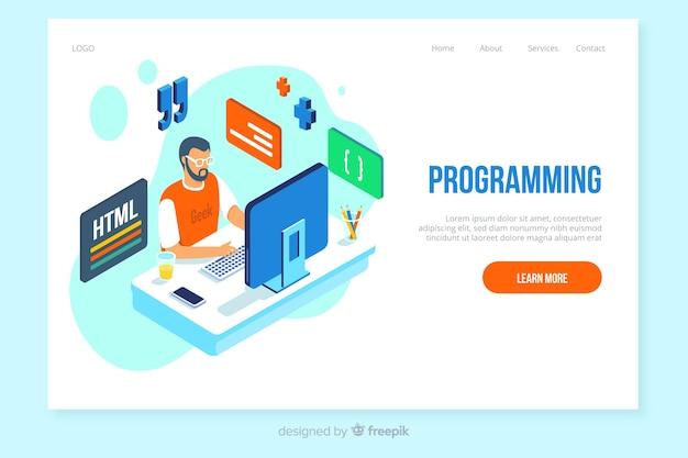 Plantilla de landing page isométrica de programación vector gratuito