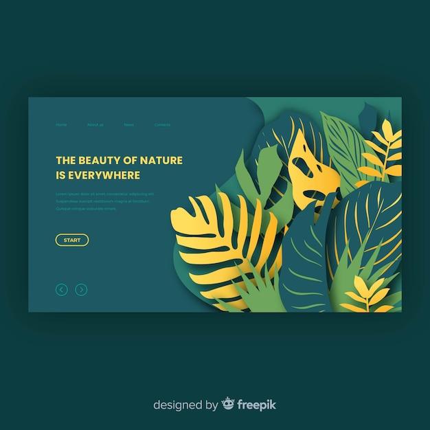 Plantilla de landing page de naturaleza verde vector gratuito