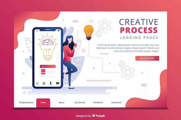 Plantilla de landing page de proceso creativo vector gratuito