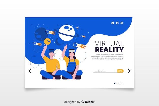 Plantilla de landing page de realidad virtual vector gratuito