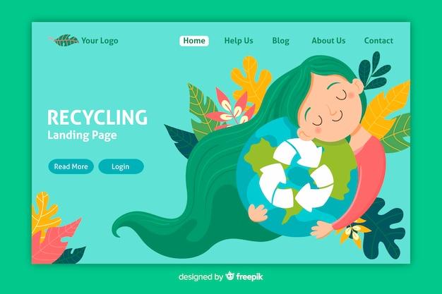 Plantilla de landing page de reciclaje vector gratuito