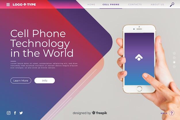 Plantilla de landing page de tecnología con imagen vector gratuito