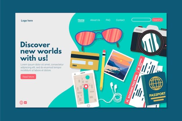 Plantilla de landing page de viaje en diseño plano vector gratuito