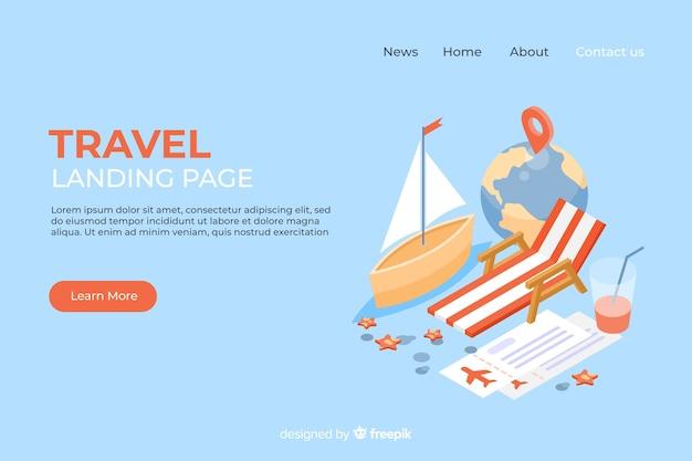 Plantilla de landing page de viaje en isométrico vector gratuito