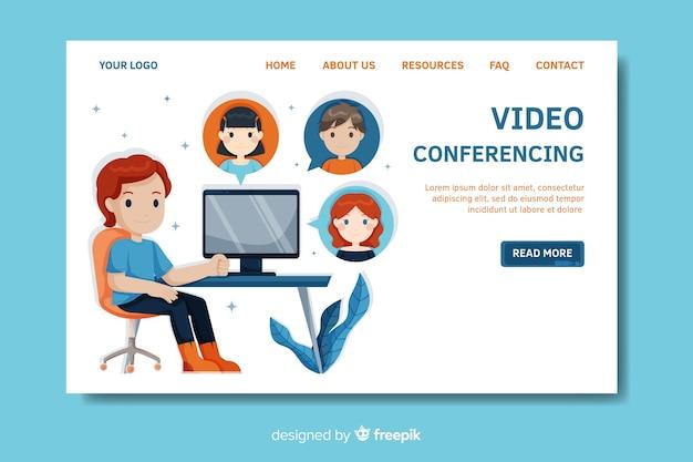 Plantilla de landing page de videoconferencias vector gratuito