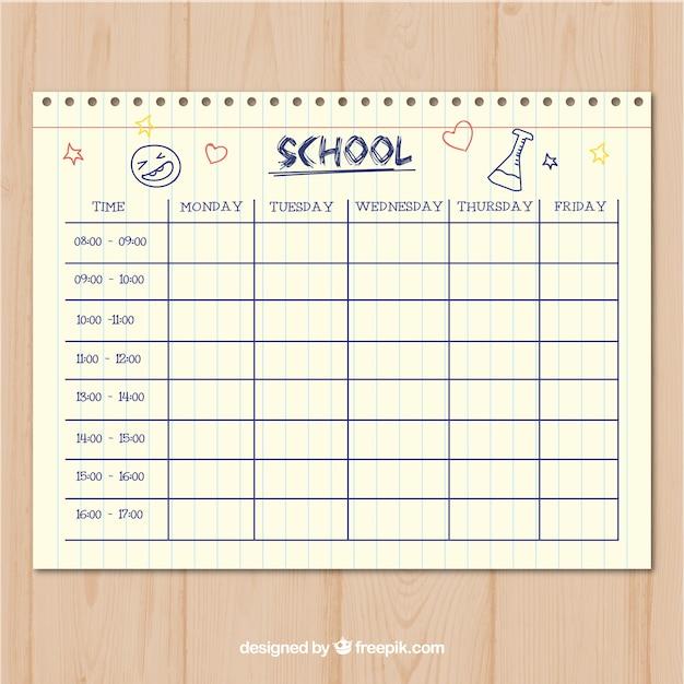 Plantilla limpia estilo papel de horario escolar | Descargar ...