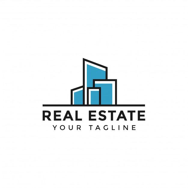 Plantilla de línea abstracta simple colorido logotipo inmobiliario Vector Premium