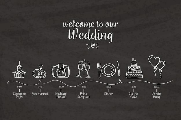 Plantilla de línea de tiempo de boda dibujada a mano vector gratuito