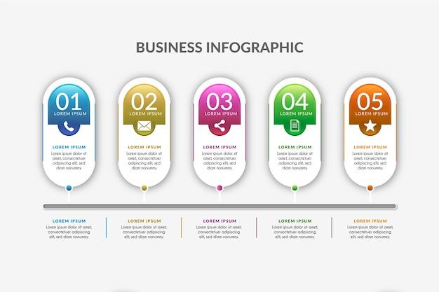 Plantilla de línea de tiempo gradiente infografía vector gratuito