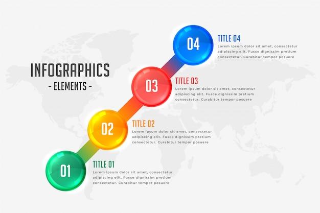 Plantilla de línea de tiempo de infografía de cuatro pasos vector gratuito