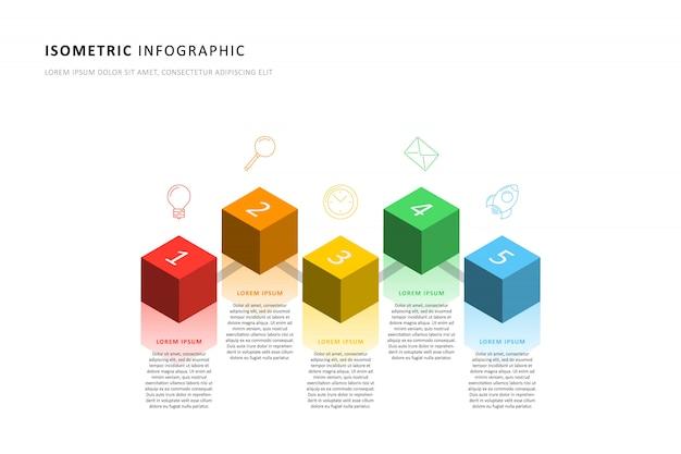 Plantilla de línea de tiempo de infografía con elementos cúbicos isométricos realistas Vector Premium