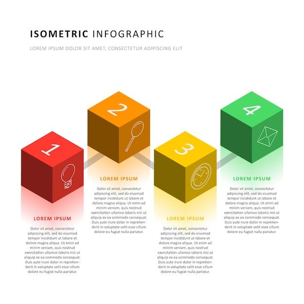 Plantilla de línea de tiempo de infografía isométrica con elementos cúbicos 3d realistas. diagrama de proceso de negocio moderno para folleto, banner, informe anual y presentación. fácil de editar y personalizar. eps10 Vector Premium
