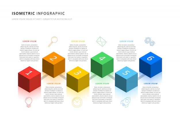 Plantilla de línea de tiempo de infografía isométrica con elementos cúbicos 3d realistas. Vector Premium