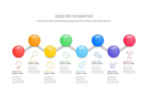 Plantilla de línea de tiempo de infografía isométrica con elementos redondos 3d realistas. diagrama de proceso de negocio moderno Vector Premium