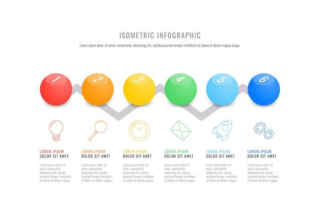 Plantilla de línea de tiempo de infografía isométrica con elementos redondos 3d realistas. Vector Premium