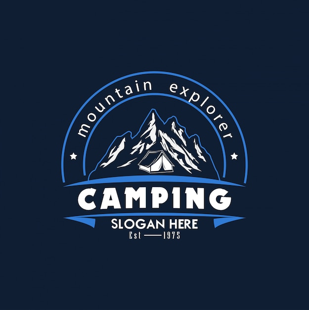 Plantilla logo camping vector illustration Vector Premium
