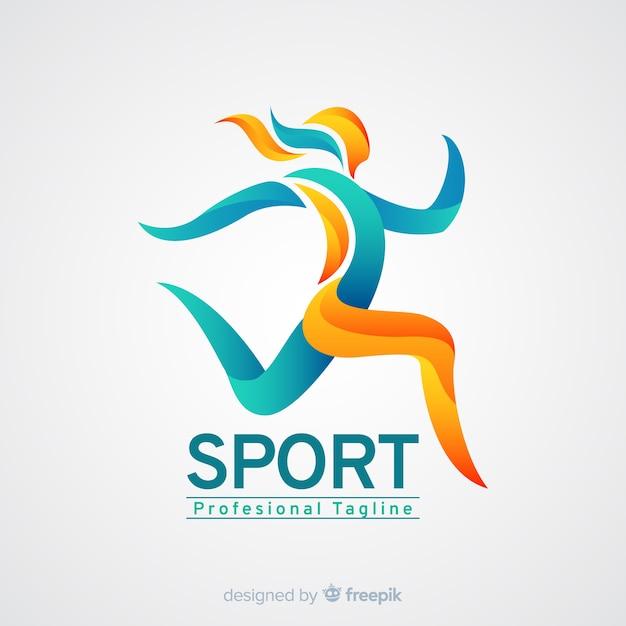 Plantilla de logo de deporte con forma abstracta vector gratuito