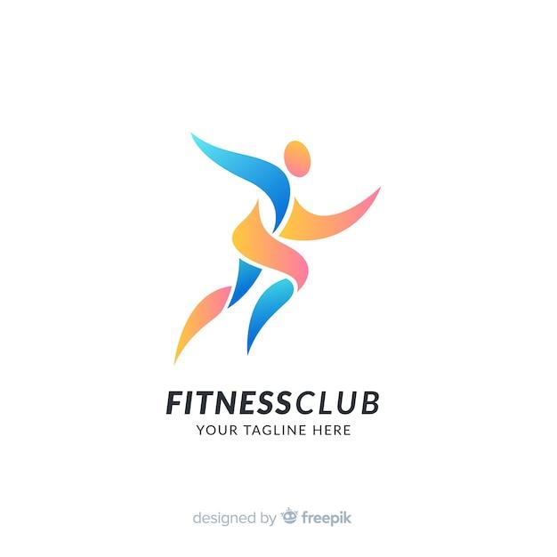 Plantilla de logo de deporte con formas abstractas vector gratuito