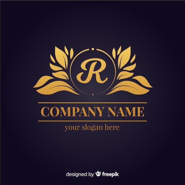 Plantilla de logo elegante dorado vector gratuito