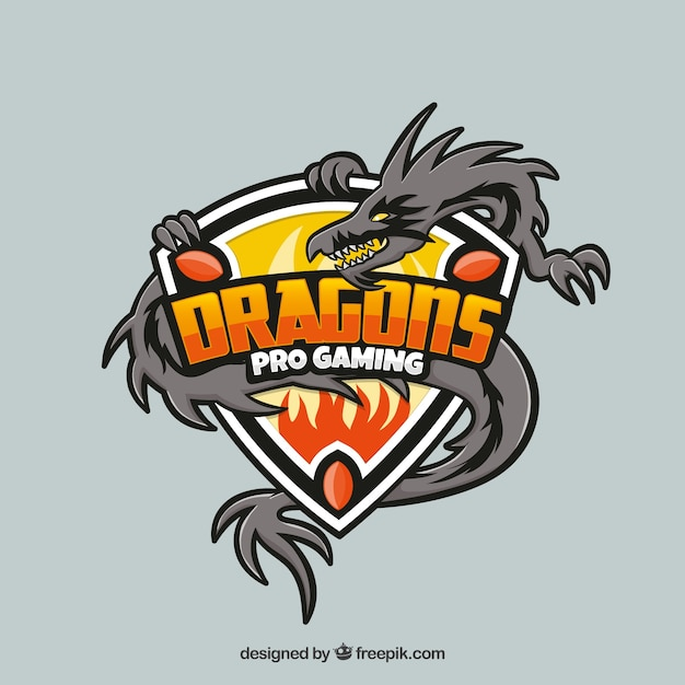 Plantilla de logo de equipo de e-sports con dragón vector gratuito