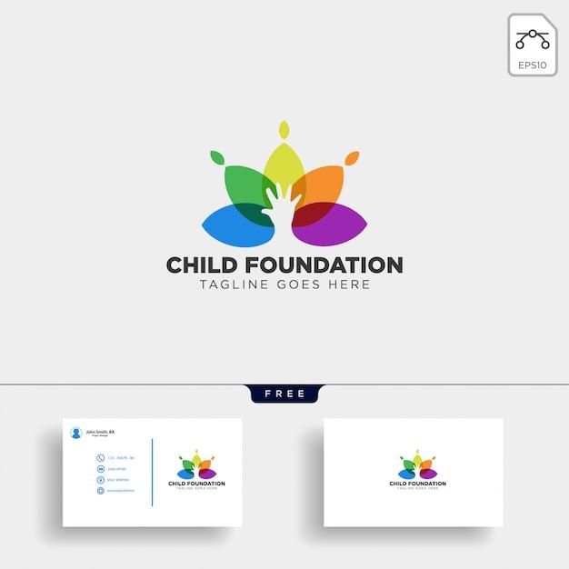 Plantilla de logo de fundación infantil Vector Premium