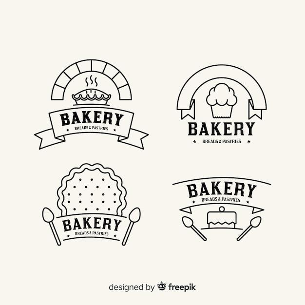 Plantilla de logo de panadería en arte lineal vector gratuito