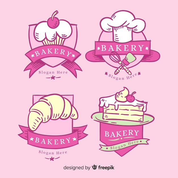 Plantilla de logo de panadería dibujada a mano vector gratuito