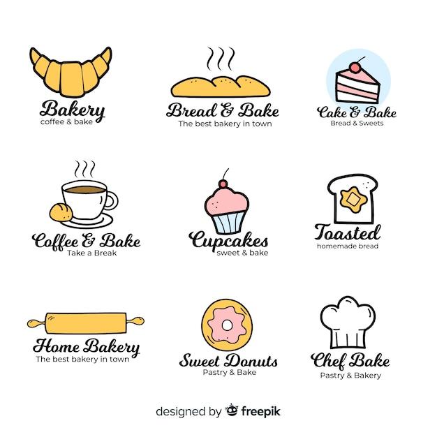 Plantilla de logo de panadería dibujada a mano Vector Premium