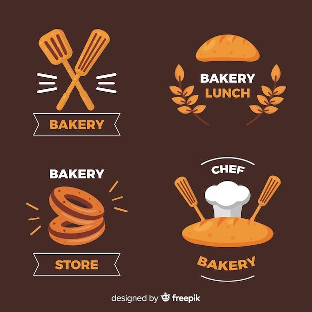 Plantilla de logo de panadería en diseño plano vector gratuito