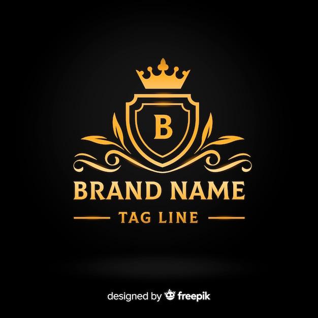 Plantilla logo plano elegante dorado vector gratuito