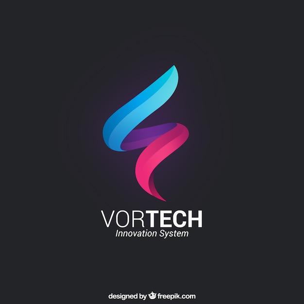 Plantilla de logo de rizo de colores vector gratuito