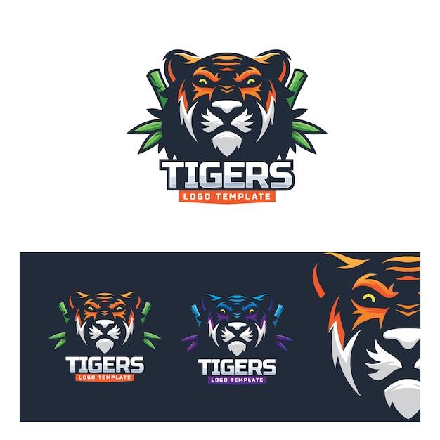 Plantilla logo tigre deporte naturaleza moderno Vector Premium