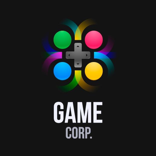 Plantilla de logo de videojuego con mando de juego Vector Premium