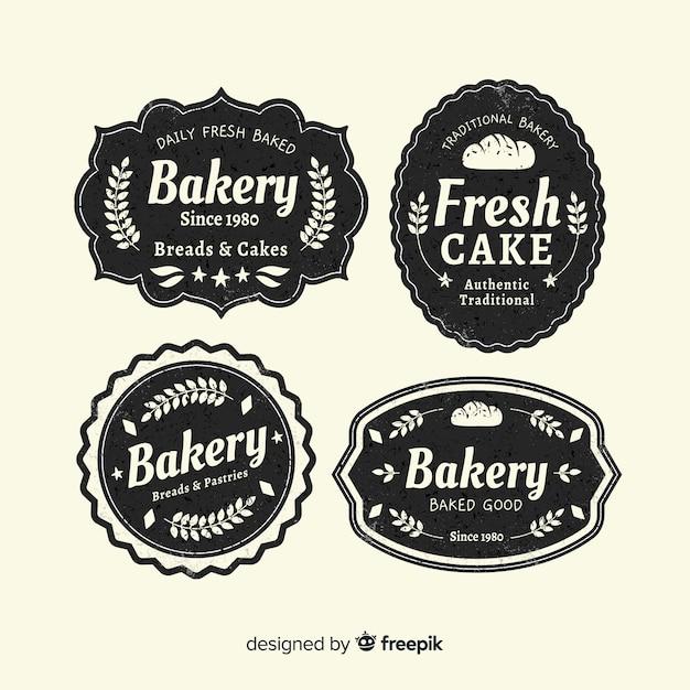 Plantilla de logo vintage de panadería vector gratuito