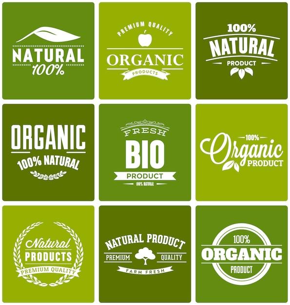 Plantilla de logos de productos orgánicos vector gratuito