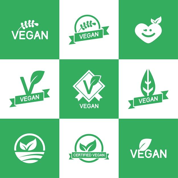 Plantilla de logos veganos vector gratuito