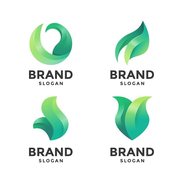 Plantilla de logotipo abstracto hoja verde Vector Premium
