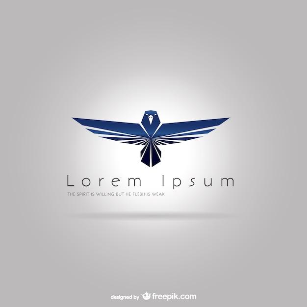 Plantilla de logotipo con águila azul vector gratuito