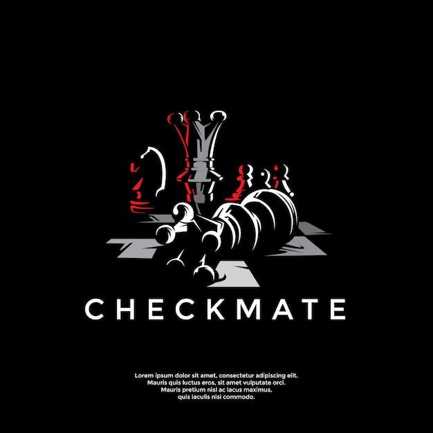 Plantilla de logotipo de ajedrez jaque mate Vector Premium