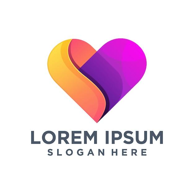 Plantilla de logotipo de amor creativo Vector Premium