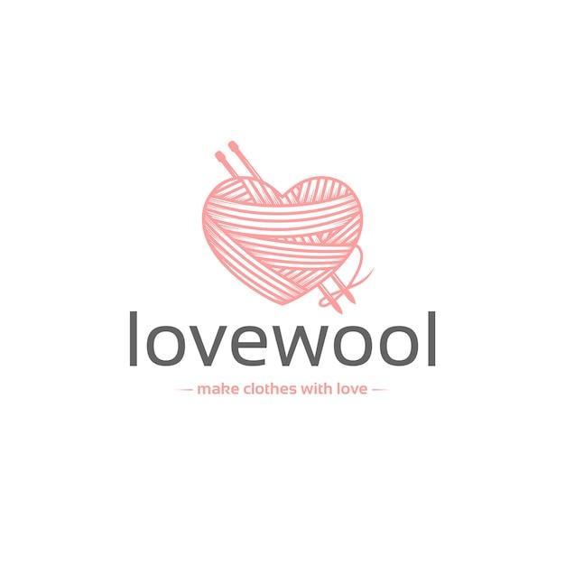 Plantilla de logotipo de amor de lana Vector Premium