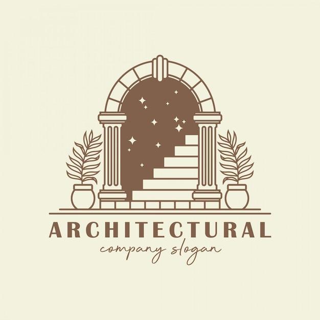 Plantilla de logotipo de arco antiguo. Vector Premium