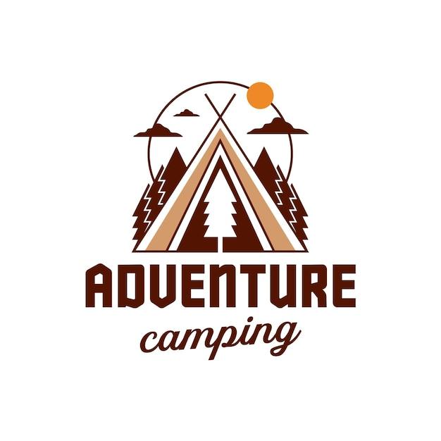 Plantilla de logotipo de aventura de camping aislado en blanco Vector Premium