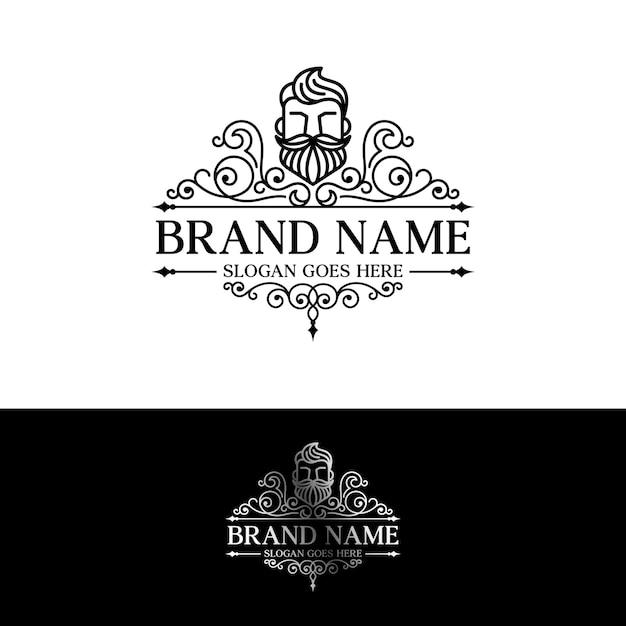 Plantilla de logotipo de barba Vector Premium