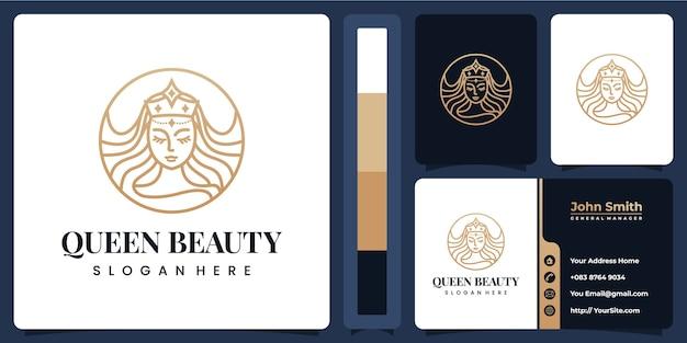 Plantilla de logotipo de belleza con tarjeta de visita Vector Premium