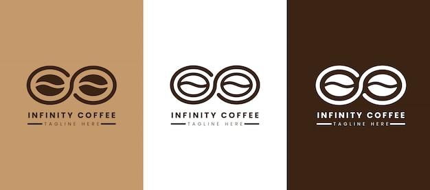 Plantilla de logotipo de café infinito Vector Premium
